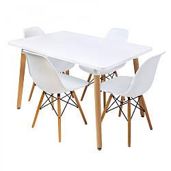 Комплект для кухни BARDO  Cтол и 4 стульчика Белый(деревянные ножки)  ПОЛЬША