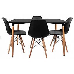 Комплект для кухни BARDO  Cтол и 4 стульчика Black(деревянные ножки)   ПОЛЬША