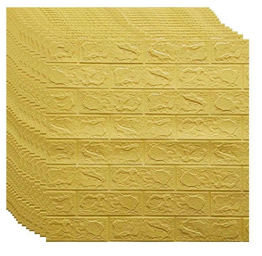 Самоклеюча декоративна 3D панель під жовто-пісочний цегла 700х770х3мм (самоклейка, М'які 3D Панелі)