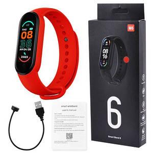 Фітнес браслет FitPro Smart Band M6 (смарт годинник, пульсоксиметр, пульс). Колір червоний
