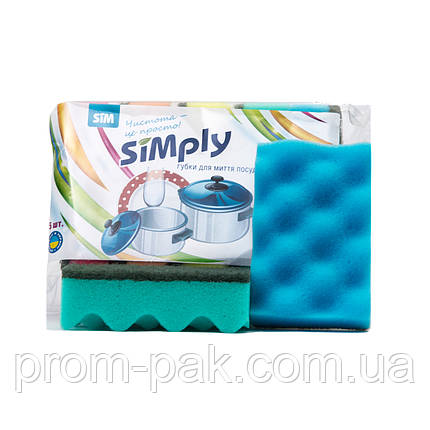 Мочалки для мытья посуды 5шт Simply, фото 2