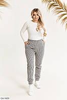 Теплі вовняні жіночі штани на резинці, з кишенями осінь-зима великих розмірів 50-56 арт 946