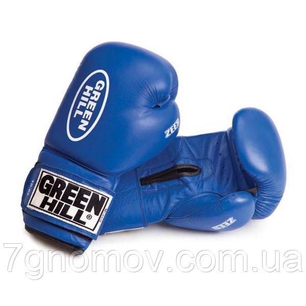"""Перчатки боксерські """"ZEES"""" Green Hill шкіра 10 oz"""