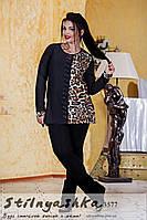 Туника женская Лео вставки большого размера черная, фото 1