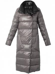 Стильний жіночий пуховик-пальто великі кишені качиний пух легкий сірий синій марсала S M L XL XXL
