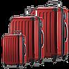 Вместительный красный 4-колесных надежный комплект чемоданов HAUPTSTADTKOFFER alex set red