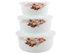Набір 3-пр салатників (14*16*19) з кришкою Чайна троянда 6916 ТМ LUMINES