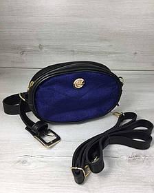 Жіноча сумка на пояс - клатч WeLassie чорного кольору синій Оксамит