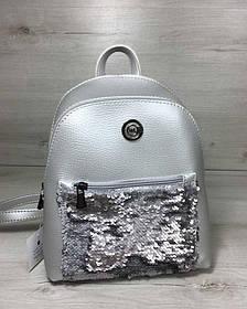 Рюкзак з паєтками «Бонні» срібного кольору