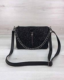 Стильна сумка-клатч Tina зі вставкою чорний блиск