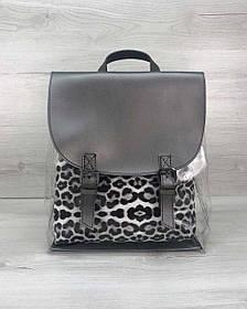 Рюкзак жіночий силіконовий металік з косметичкою