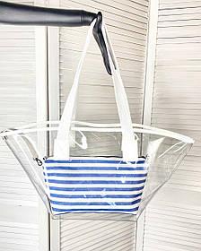 Пляжная сумка оптом прозрачная с косметичкой