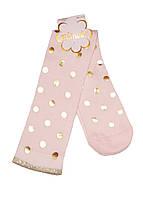 Гольфы для девочки принт горошек розовые 34-36