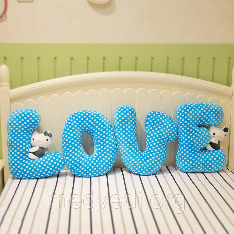 Подушки-буквы в синем стиле