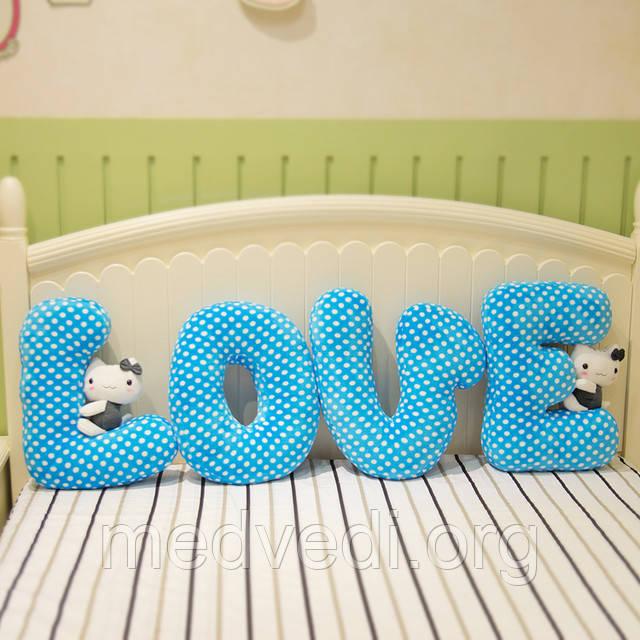 Подушки буквы синие
