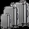 Качественный 4-колесный надежный набор пластиковых чемоданов HAUPTSTADTKOFFER alex set silver светло серый