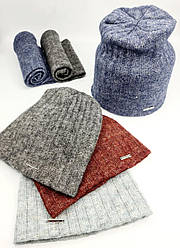 Трикотажний набір шапка и снуд на флісі р50-52.