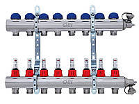 Коллектор для теплого пола FIV на 4 выхода в сборе с расходомерами