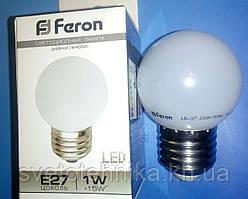 """Светодиодная лампа Feron LB37 Е27 1W типа G45 """"шар"""" белая для общего и декоративного освещения"""