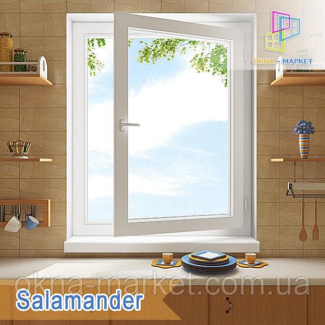"""Цена одностворчатого поворотно-откидного окна Саламандер 800х1400 """"Окна Маркет"""""""