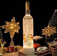 """Новогодний декоративный фонарь бутылка """"Снеговики"""" со снегом 19104"""