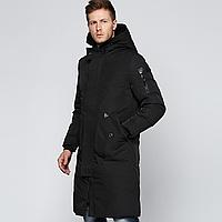 Куртка зимняя мужская черная, длинный пуховик, размер 46 (XL), С-7868-10