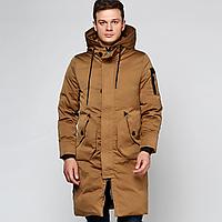 Куртка зимняя мужская коричневая, длинный пуховик размер 48 (XXL) СС-7868-76