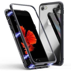 Магнитный чехол для iPhone 7 / 8 / se 2020 черный | Magnetic adsorption phone case black стекляный на айфон