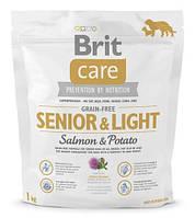 Корм для собак Brit Care GF Senior & Light Salmon & Potato 1 кг, лосось, для пожилых собак всех пород