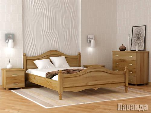 Ліжко двоспальне з натурального дерева в спальню Лаванда Орбіта