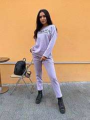 Спортивний костюм теплий жіночий NOBILITAS 42 - 48 ліловий трикотаж на флісі (арт. 21039)
