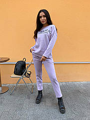 Спортивный костюм теплый женский NOBILITAS 42 - 48 лиловый трикотаж на флисе (арт. 21039)