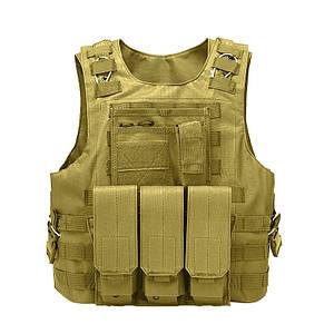 Жилет тактический AOKALI Outdoor А56 Sand разгрузочный военный
