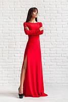 Элегантное женское платье в пол с разрезом красное