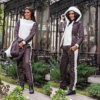 Теплый спортивный костюм-тройка коричневый