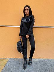 Спортивний костюм теплий жіночий NOBILITAS 42 - 48 чорний трикотаж на флісі (арт. 21039)