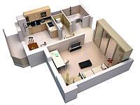 Технический дизайн однокомнатной квартиры