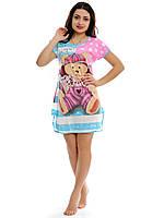 Женская ночная рубашка-туника с медвежонком