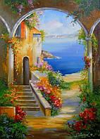 «Южный дворик» картина маслом