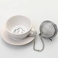 Набор: подставка под чайные пакетики с металлическим фильтром (белая)