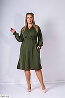 Однотонное платье с рукавом реглан свободного кроя с поясом на резинке с пряжкой Размер:50-52, 54-56 арт. 2370