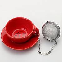 Подставка под чайные пакетики с металлическим фильтром (красный)