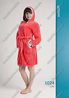 Женский короткий халат софт-махра, на молнии, с карманами.