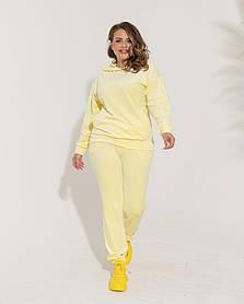 Жіночий велюровий спортивний костюм жовтий, 58-60