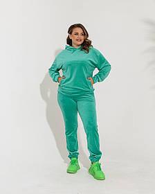 Жіночий велюровий спортивний костюм зелений, 58-60
