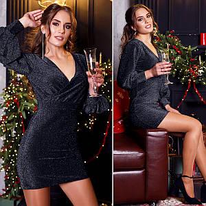 Платье с люрекса MF113 Черное S