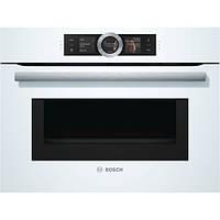 Компактный духовой шкаф с микроволновым режимом Bosch CMG6764W1, белый