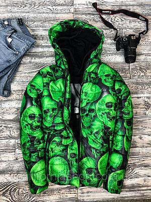 Куртка мужская зеленая с капюшоном с принтом черепом теплая демисезонная короткая молодежная