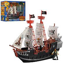 Игровой набор для мальчика Пираты Черного моря M 0516, корабль с фигурками пиратов и аксессуарами