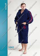 Мужской махровый халат  синего цвета